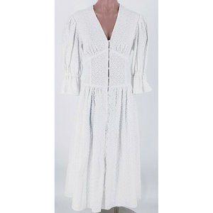 LA VIE Leaf Embroidered Cotton Dress Size XS New R